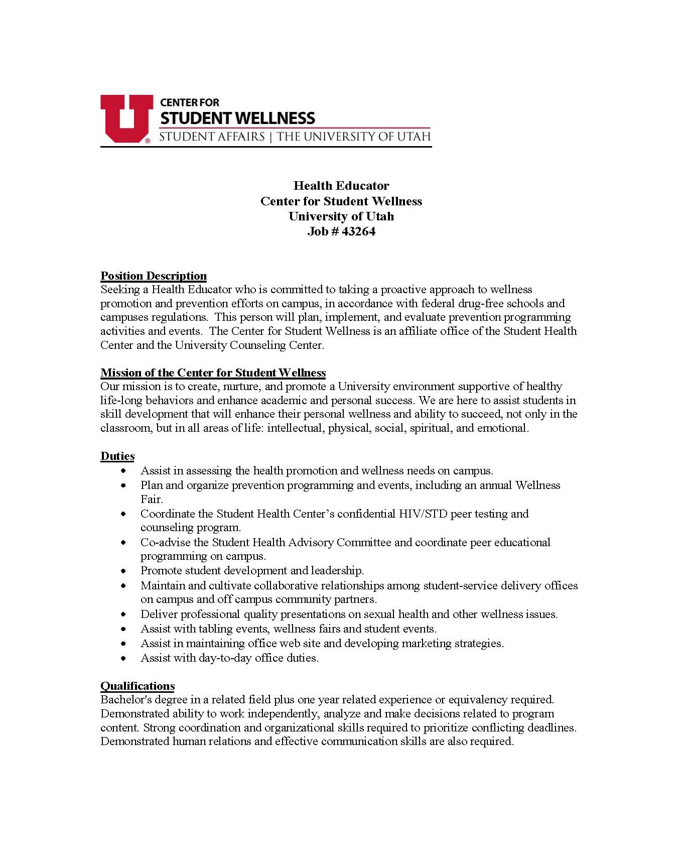health educator cover letter Cover letter for job opportunity in may 2016 i will graduate from the yale university school of public health with a master of public health degree and a concentration in health i believe that my education and experience will enable me to make significant contributions not only to.